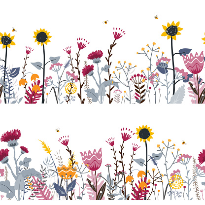 Vector nature seamless background with hand drawn wild herbs, flowers and leaves on white. Doodle style floral illustration