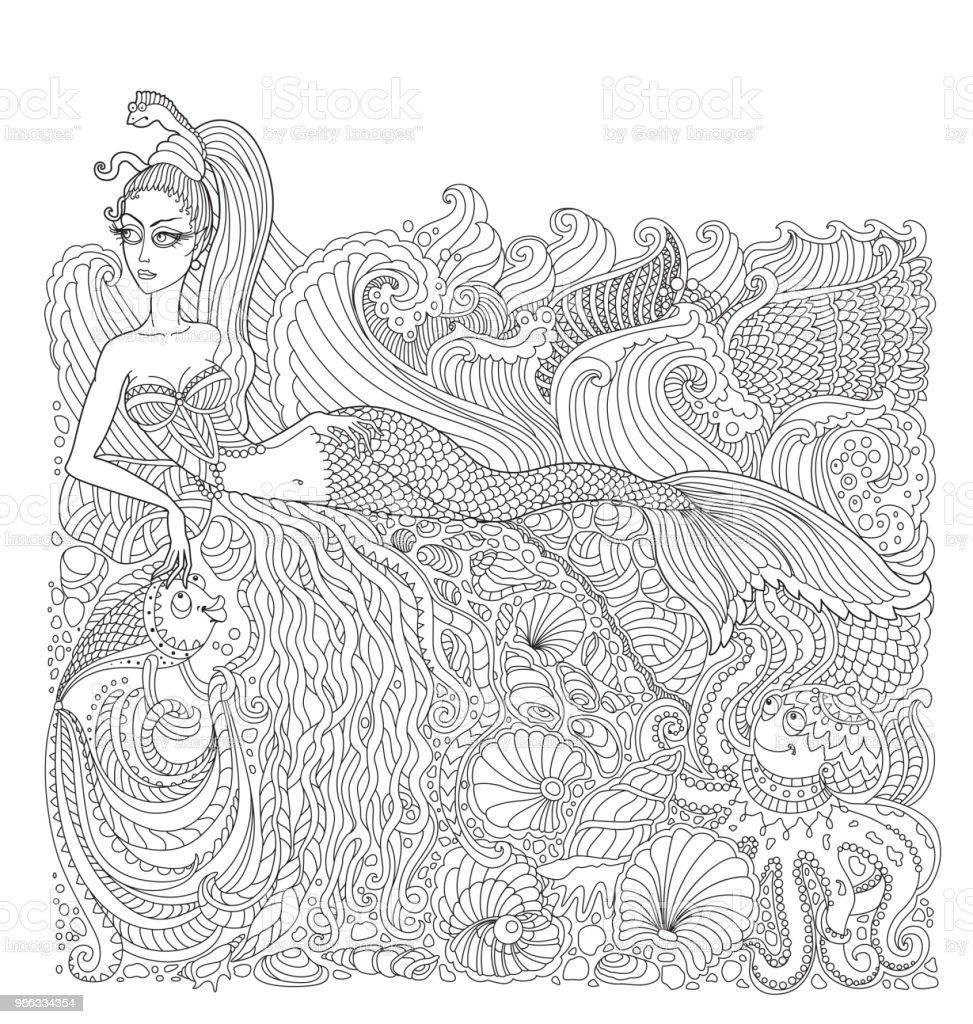 Nautische Batik Farbe Kontur Dünne Vektorlinie Meerjungfrau Insel