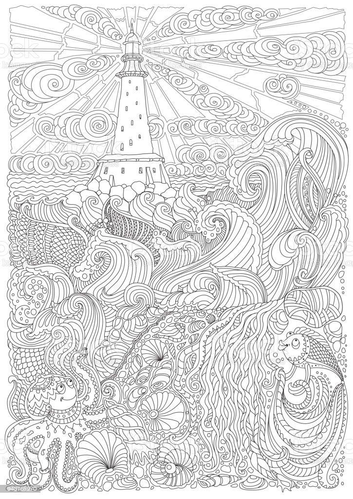 Ilustración de Ilustración De Vector Línea Fino Contorno Náutica Las ...