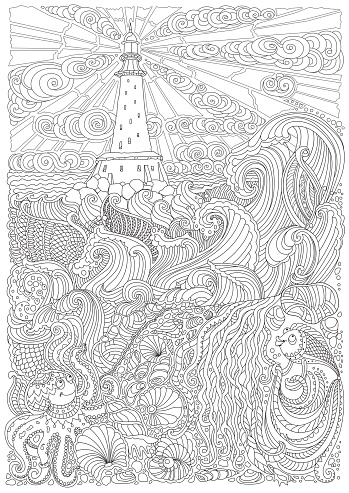 Vector nautical contour thin line illustration. Ocean waves, island, lighthouse, pearl, fish, sea shell, octopus. Black and white. Hand drawn abstract sketch artwork. Adults coloring book vertical page