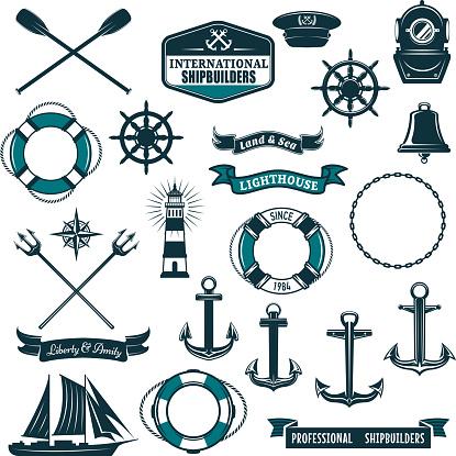 Vector nautical heraldic icons of seafarer sailing