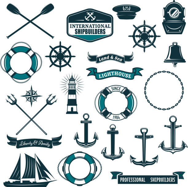 illustrations, cliparts, dessins animés et icônes de icônes héraldiques nautiques vectorielles des gens de mer voile - voilier à moteur
