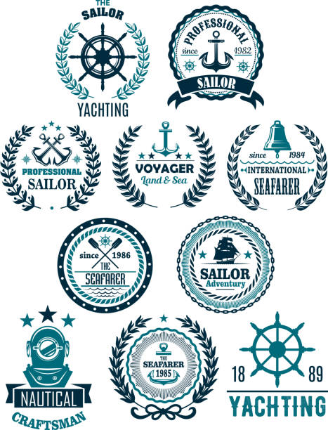 Vector nautical marine heraldic icons for yachting vector art illustration