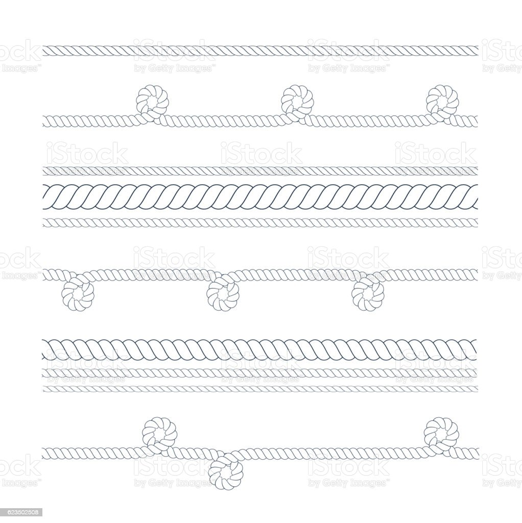 Vector nautical or climbing rope thin and thick isolated on vector art illustration