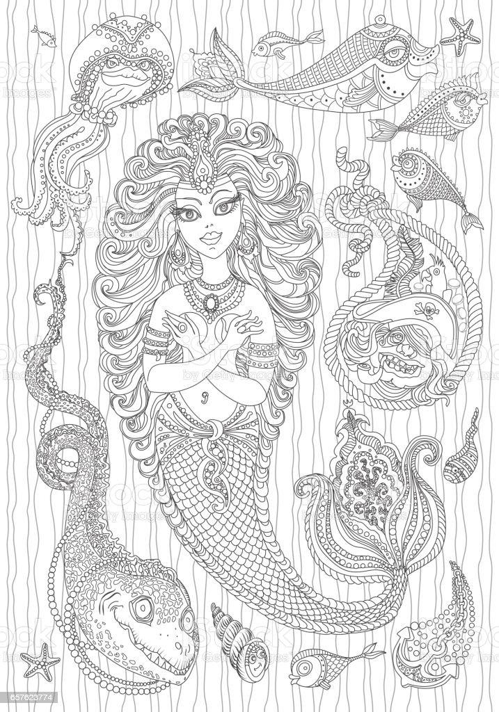 Ilustración de Conjunto De Náutico Adorno Paisley Vector De Sirena ...