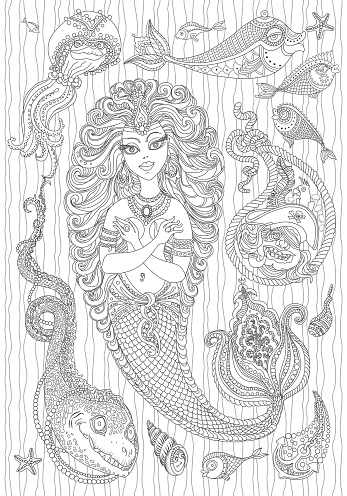 Vector nautical paisley ornament set from silver grey mermaid, pearl, fish, anchor, sea shell, morey, pirate with parrot on the hat, on a white background . Black line artwork. Adults Coloring book page