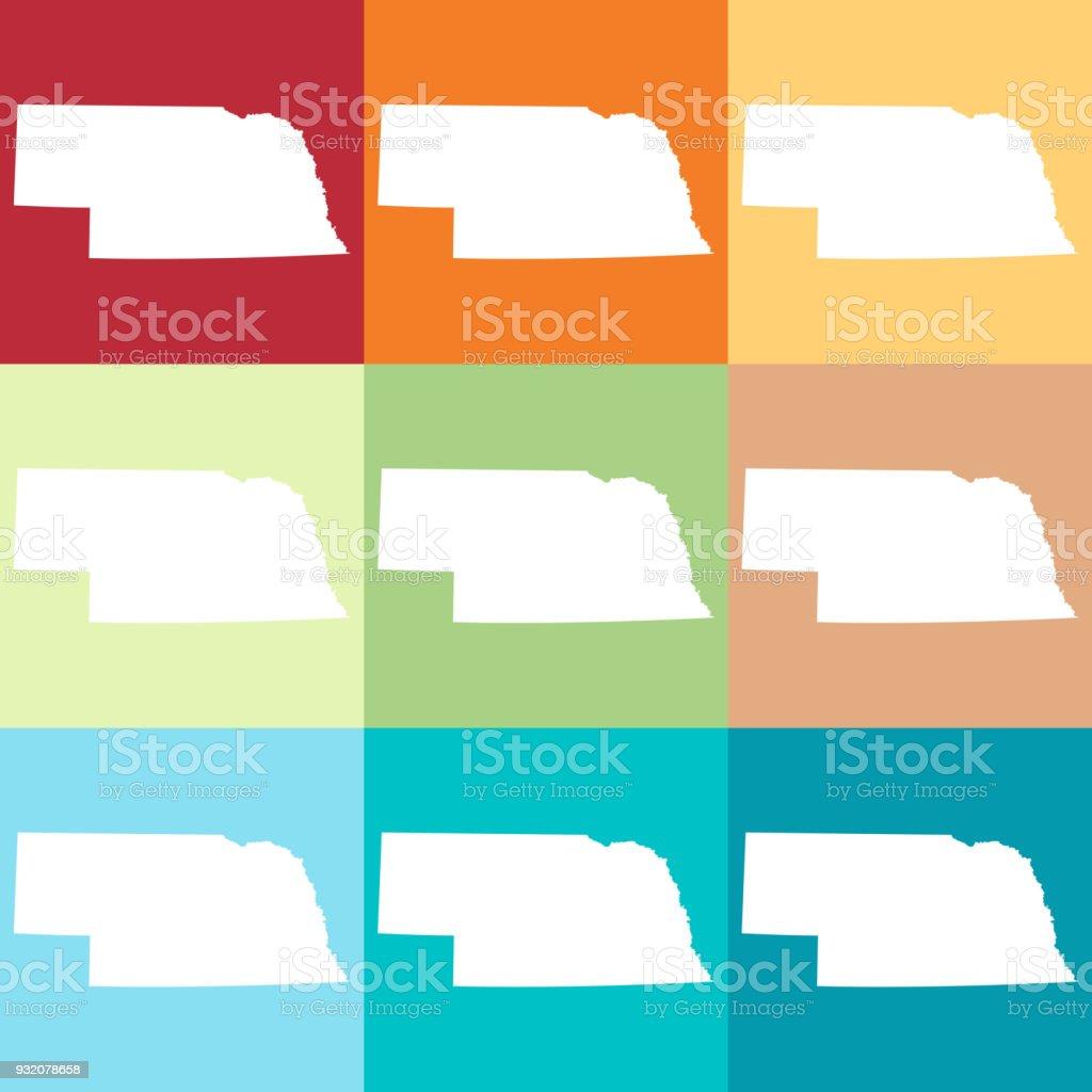 Vector Nebraska Usa Map In Beachy Colors Stock Vector Art More