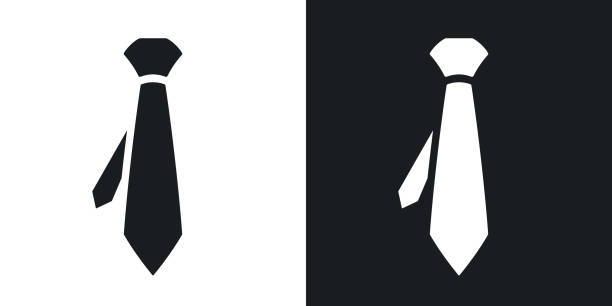 vector necktie icon. two-tone version - tie stock illustrations, clip art, cartoons, & icons