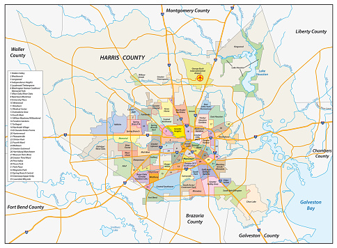 vector neighborhood map of the Texas city of Houston, United States