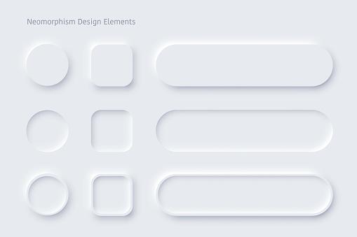 Vector neomorphism design white buttons or slider
