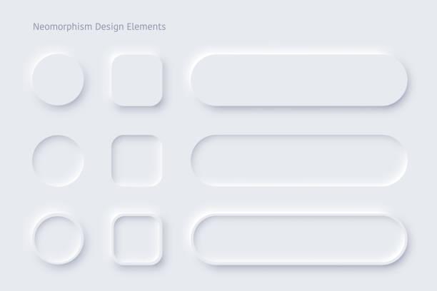向量新態設計白色按鈕或滑塊 - 按鈕 幅插畫檔、美工圖案、卡通及圖標
