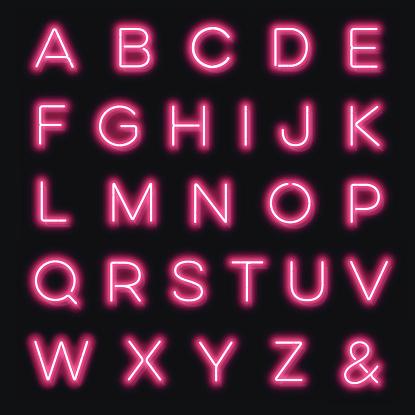 Vector neon alphabet letters in pink