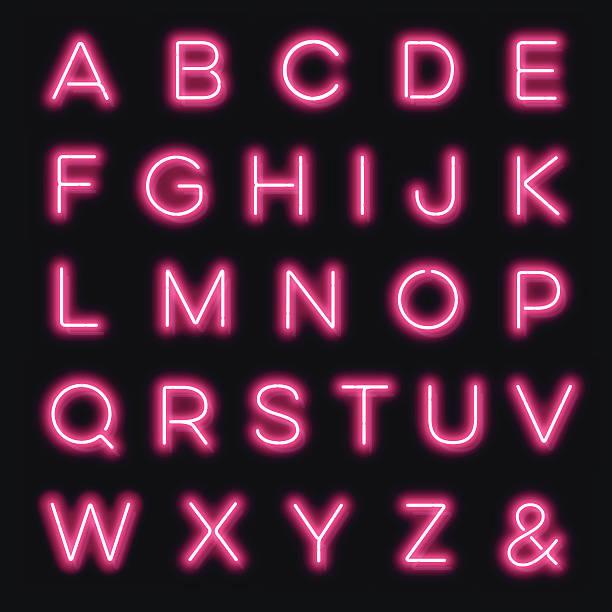 wektor neon alfabet litery w różowy - neon stock illustrations