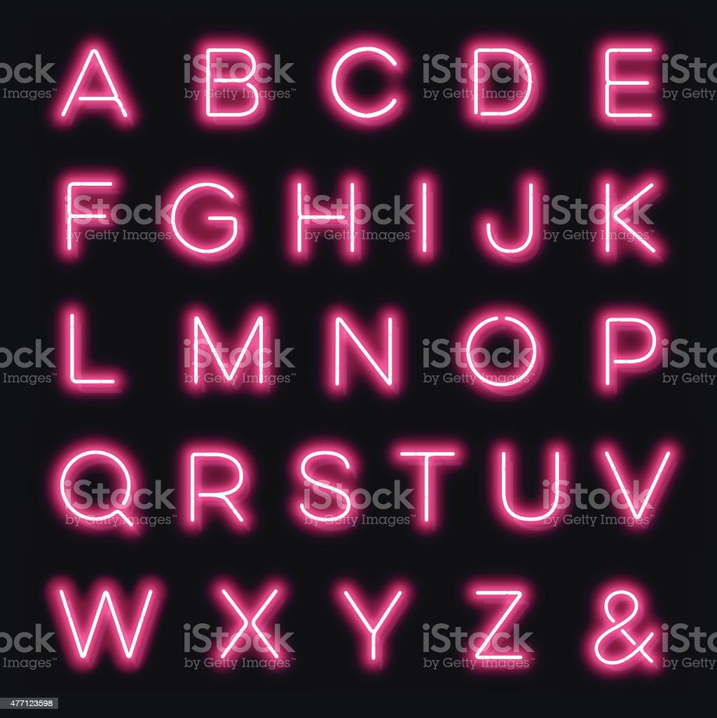 Vector neon alphabet letters in pink vector art illustration
