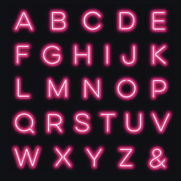 vector neon alphabet letters in pink - ruth 幅插畫檔、美工圖案、卡通及圖標