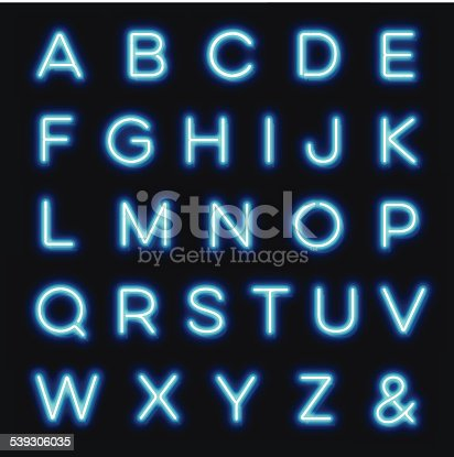 Vector neon alphabet letters to create your own sign. Detail Includes back reflection and clips. Download includes Illustrator CS6 • Illustrator 10eps • Large jpeg