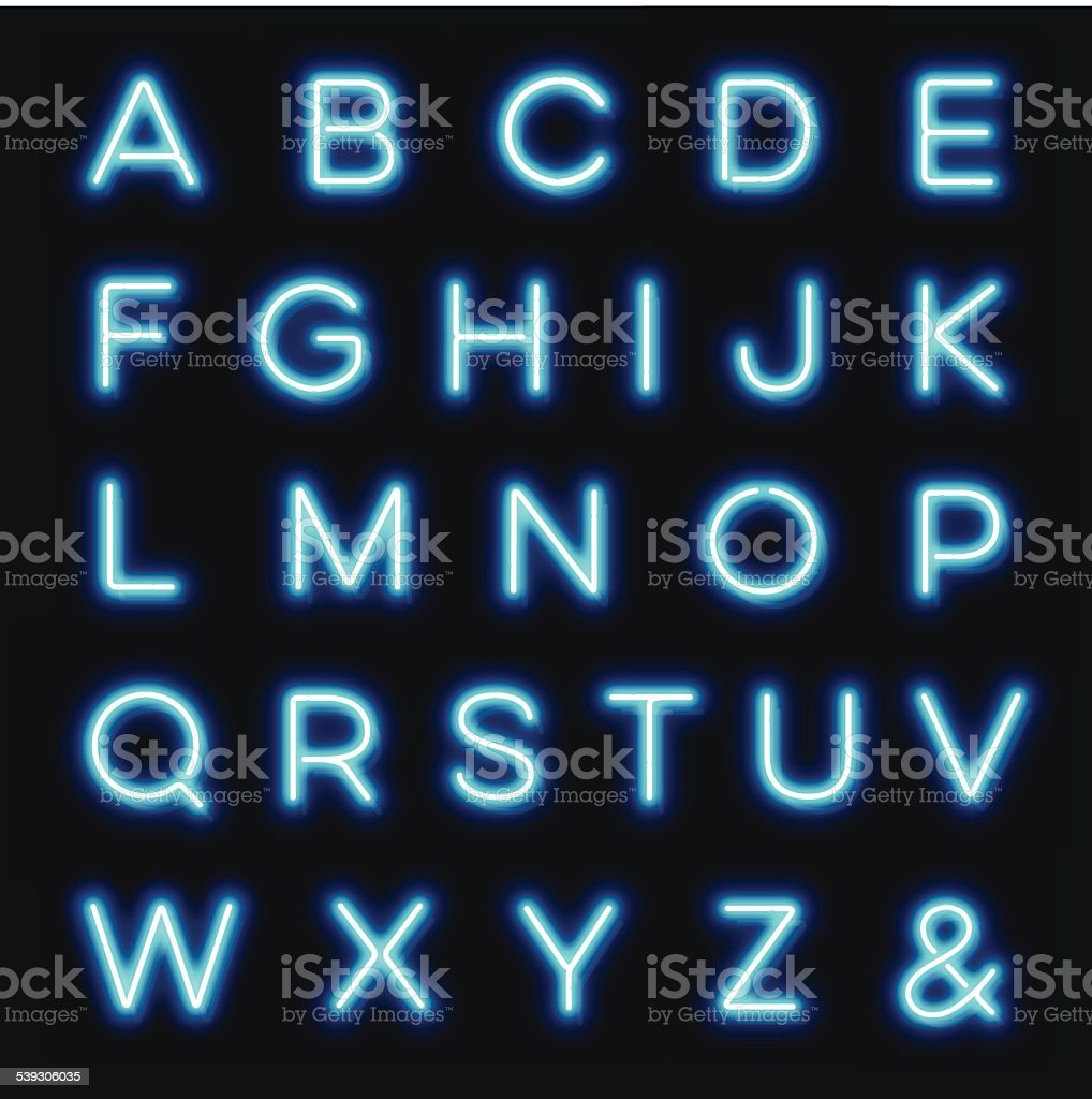 Vector neon alphabet letters vector art illustration