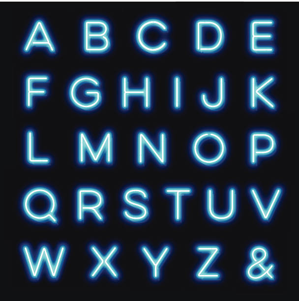 stockillustraties, clipart, cartoons en iconen met vector neon alphabet letters - borden en symbolen