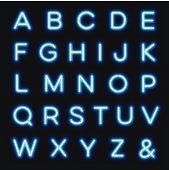 Vector neon alphabet letters