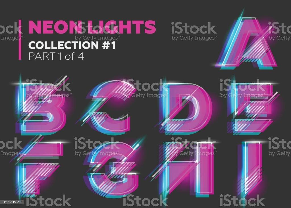 ベクトル ネオン文字をタイプセットします。背景に黒い文字が光る。 ベクターアートイラスト