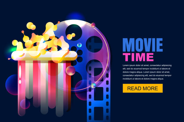 Vector neon cinema and home movie time concept. Film reel and popcorn modern illustration. Sale cinema theatre tickets. vector art illustration