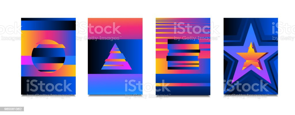 Vector Neon Colorful Glitch Effect Poster Setmodern Tv Distortion