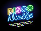 Vector neon Disco Music logo with Alphabet
