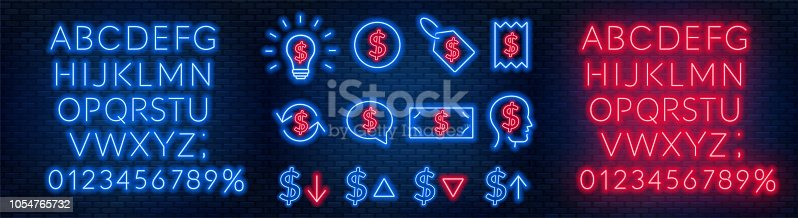 Vector neon financial signs on dark background. Signs of currency exchange, currency appreciation and depreciation, prices, business ideas, speech bubble and others. Neon alphabets with numbers. Eps 10.