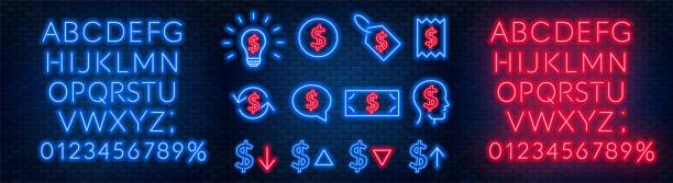 illustrazioni stock, clip art, cartoni animati e icone di tendenza di vector neon financial signs on dark background. signs of currency exchange, currency appreciation and depreciation, prices, business ideas, speech bubble and others. neon alphabets with numbers. - simbolo finanziario