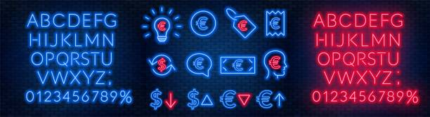 Vector neon financial signs on dark background. Signs of currency exchange, currency appreciation and depreciation, prices, business ideas, speech bubble and others. Neon alphabets with numbers. Vector neon financial signs on dark background. Signs of currency exchange, currency appreciation and depreciation, prices, business ideas, speech bubble and others.Neon alphabets with numbers. Eps 10. depreciation stock illustrations
