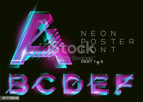 istock Vector Neon Font. Glowing Colorful Alphabet on Dark Background. Glitch Effect. Vibrant Pink, Blue, Purple Colors. Futuristic Typeset for DJ Music Poster, Night Club, Sale Banner, Fest. Isolated. 874706548