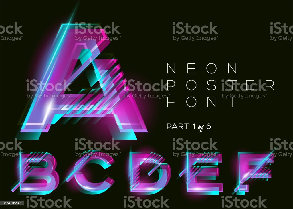 Vector Neon Font. Glowing Colorful Alphabet on Dark Background. Glitch Effect. Vibrant Pink, Blue, Purple Colors. Futuristic Typeset for DJ Music Poster, Night Club, Sale Banner, Fest. Isolated. vector art illustration