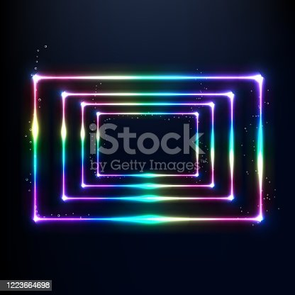 Vector neon frame. Shining rectangle banner. Vector illustration,