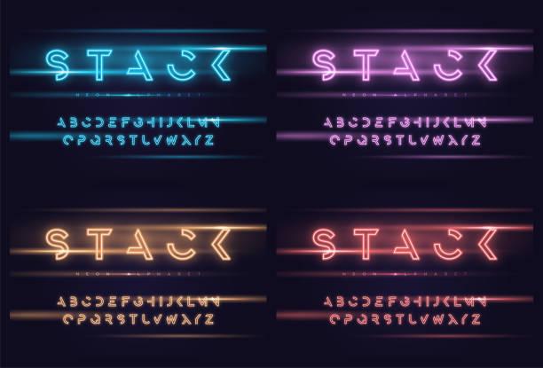 서체, 글꼴, 문자 벡터 네온 미래 표시 - 형광 stock illustrations