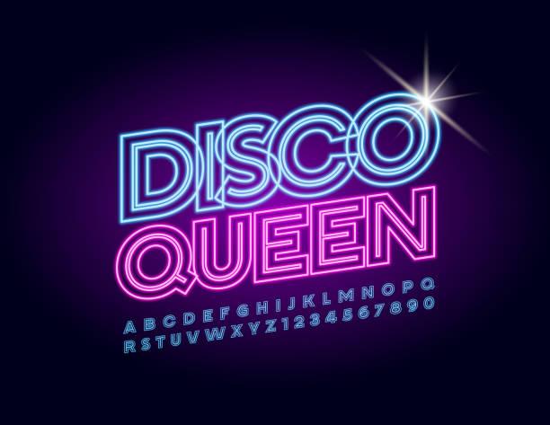 bildbanksillustrationer, clip art samt tecknat material och ikoner med vektor neon glödande affisch disco queen. belysta alfabetet bokstäver och siffror - dansa disco