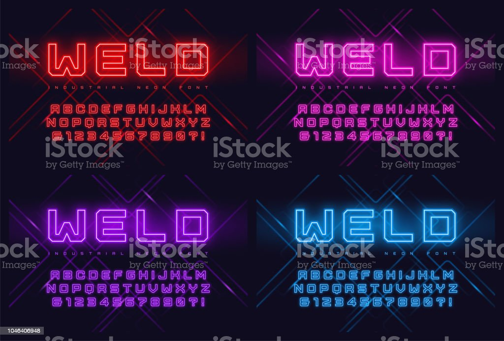 Vector Neon Industrial Style Display Typeface Font Alphabet Stock