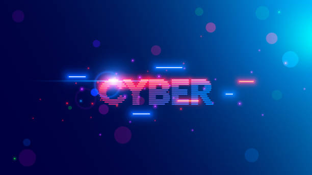 Vector neon letters of word Cyber in Retro cyberpunk style 80th or 90th. Glowing text cybermonday on web banner of online shopping. Logo or tag cyber of stripes, lines. Vintage computer technology vector art illustration