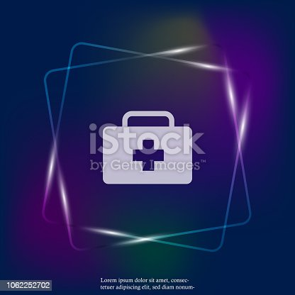 Vector neon light icon indicates the presence of first-aid. Doctor. First Aid Kit. Layers grouped for easy editing illustration. For your design.