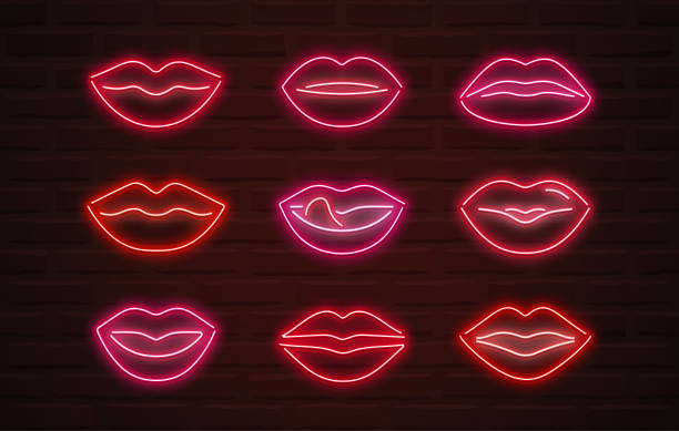 vector neon lips signs over brickwall background - zmysłowość stock illustrations