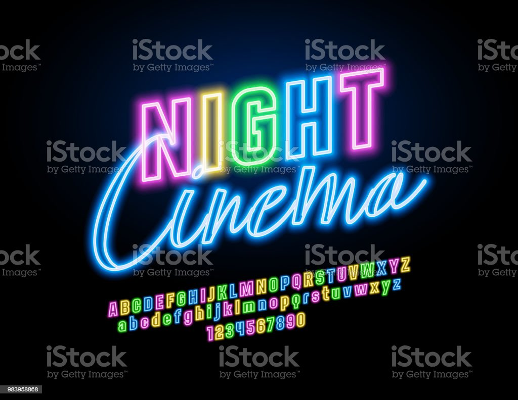 Vector neon Night Cinema banner with Bright colorful Font vector art illustration