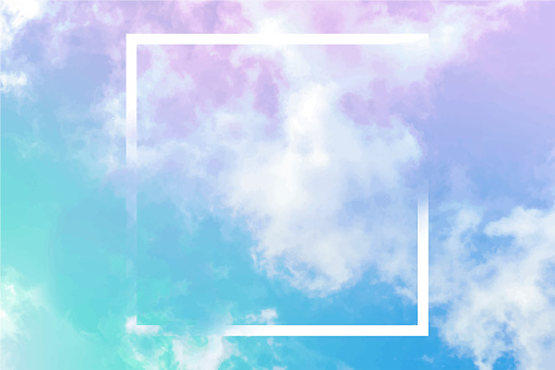 Vector neon pastel toned abstract sky background with clouds and a frame, a design template with a place for a quote and logo