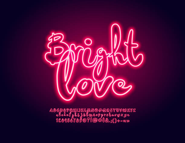 Vector Neon Pink Label Bright Love. Glowing Font for Party, Club, Entertainment Handwritten Alphabet Letters, Numbers and Symbols romance stock illustrations