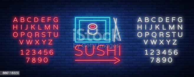 istock Vector neon sign icon Sushi bar, Asian fast-food street in a bar or shop, sushi, Onigiri with salmon roll with chopsticks, isolated. Luminous advertising, neon bobbler seafood. Editing text neon sign 886118320