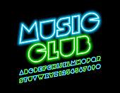 Vector Neon Sign Music Club. Modern techno Font