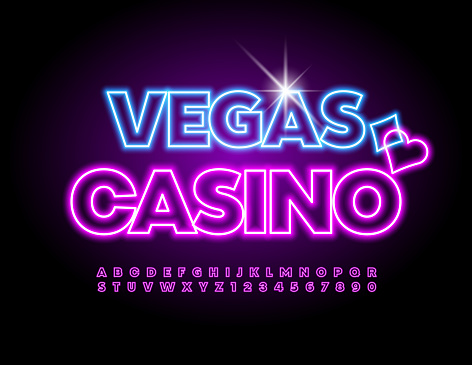 Vector neon sign Vegas Casino. Bright glowing Alphabet Letters and Numbers set