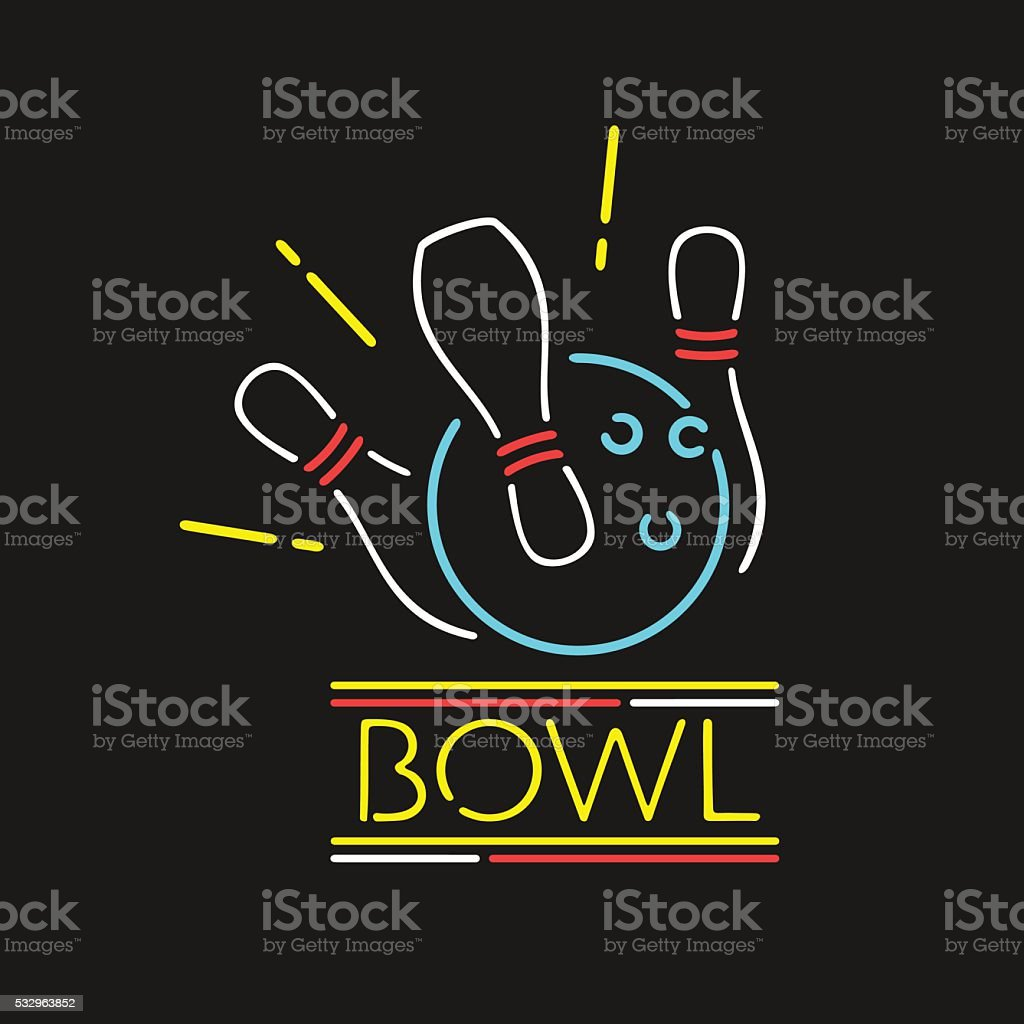 Vector Neon Symbol Bowling Center vector art illustration