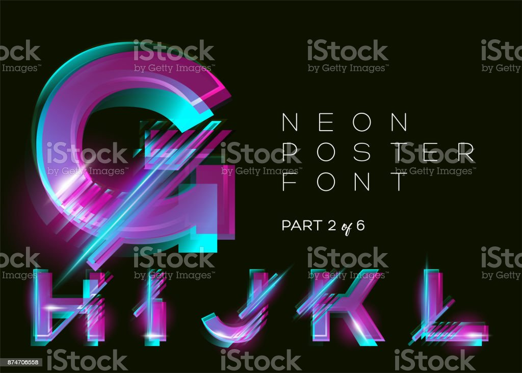 Vector Neon Typeset. Glowing Alphabet, Dark Background. Glitch Effect. Vibrant Pink, Blue, Violet Colors. Futuristic Font for Creative Poster, Night Club Invitation, Sale Banner, Music Fest. Isolated. vector art illustration