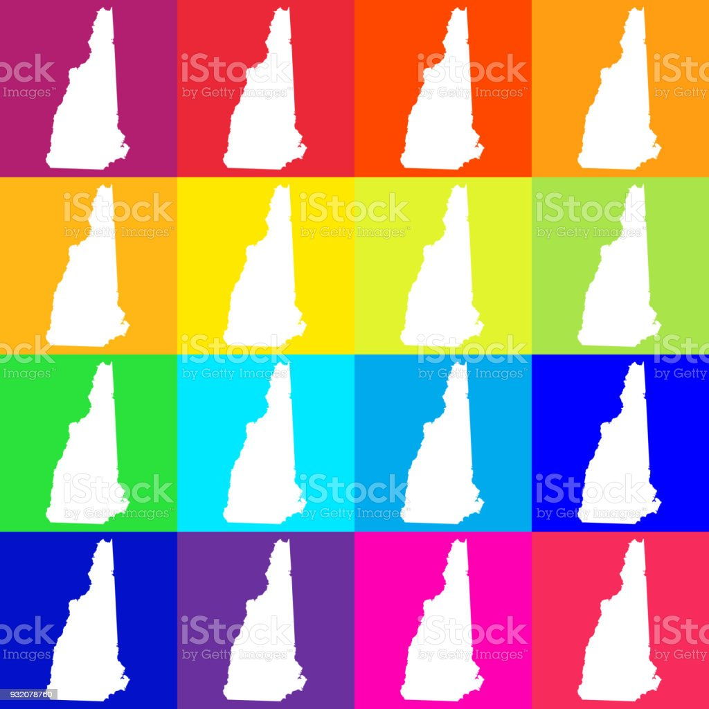 Vector New Hampshire Usa Map In Bright Colors Stock Vector Art