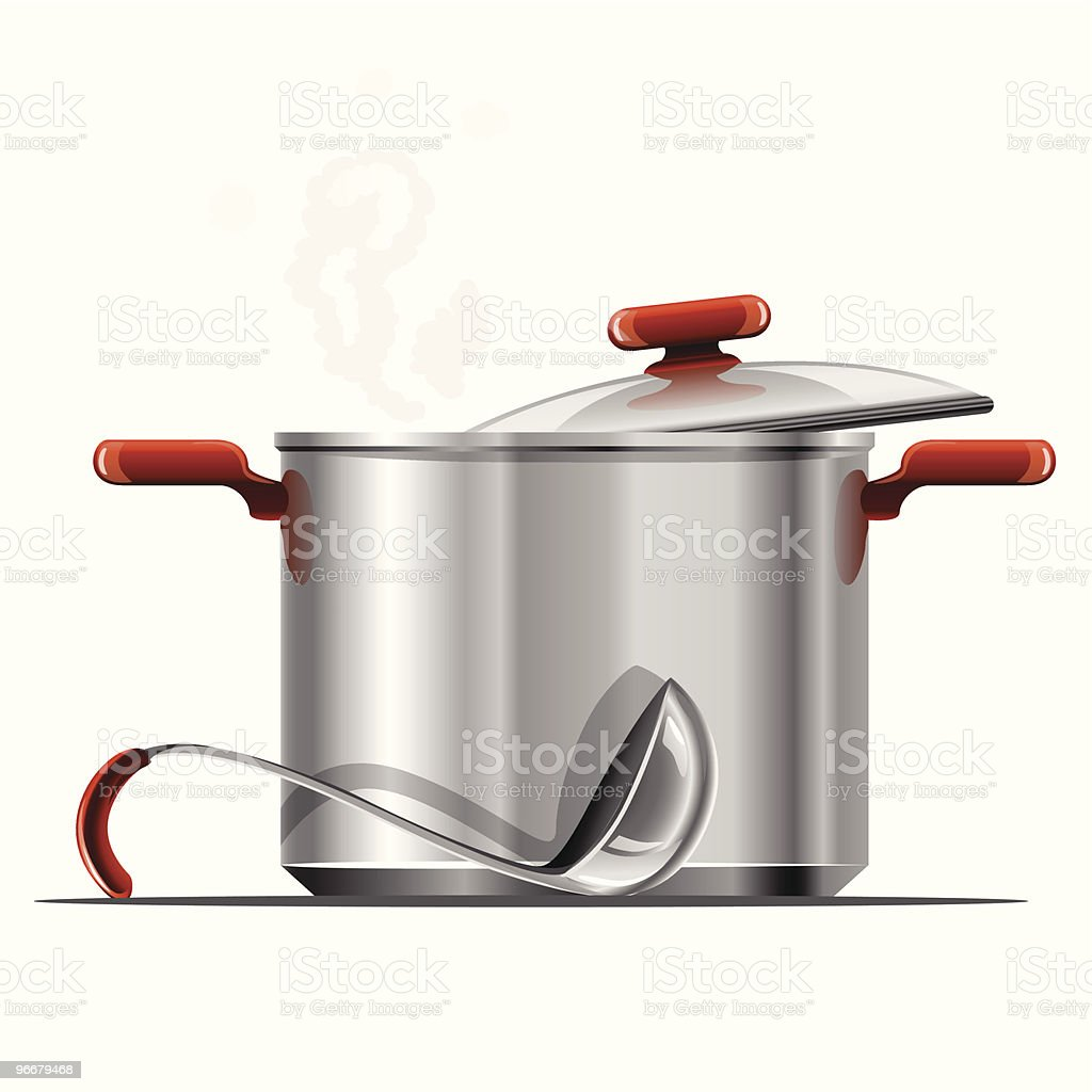 vector new hot silver pan tableware isolated vector art illustration
