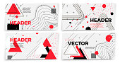 Vector new   style banner templates, white modern background with geometric shapes and place for your text.
